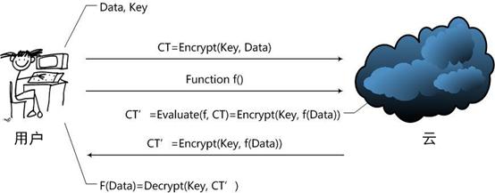 图1: 同态加密处理数据的过程